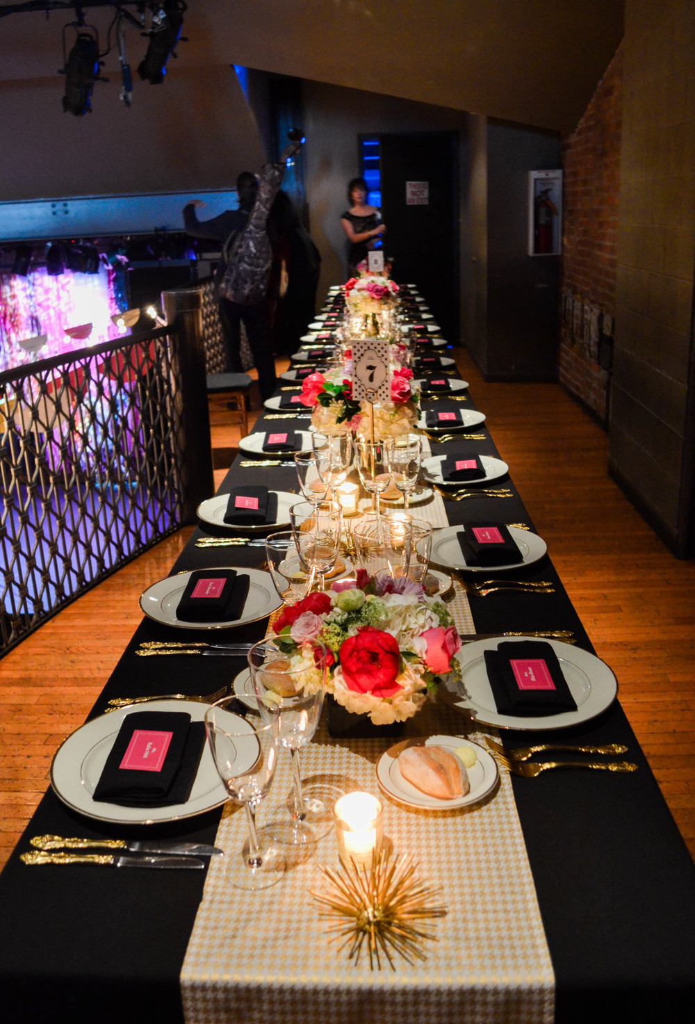 Black, pink and white tablescape!  Rosehip Social, Brooklyn, NY.