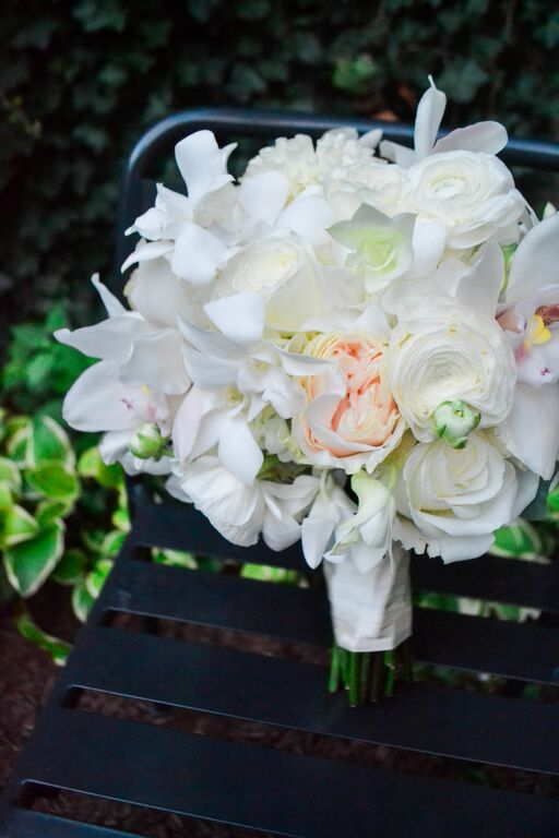 White Dendrobium orchid bridal bouquet.  Rosehip Social, Brooklyn, NY.