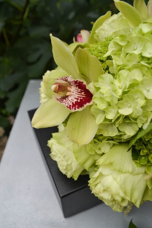 Green Cymbidium orchid and hydrangea bridal bouquet.  Rosehip Social, Brooklyn, NY.