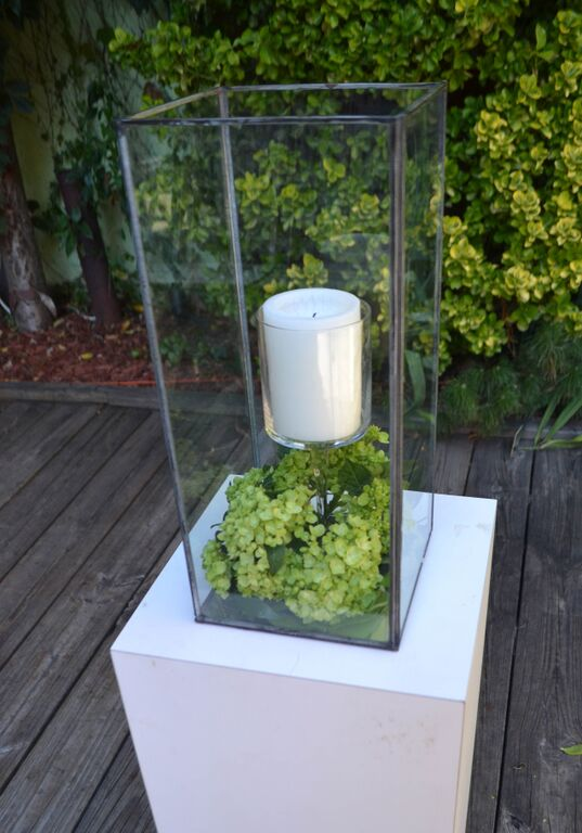 Ceremony lantern with green hydrangea at MyMoon.  Rosehip Social, Brooklyn, NY.
