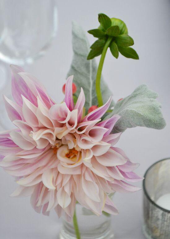 Cafe Au Lait pink dahlias in bud vase. Rosehip Social. Foundry LIC Wedding.