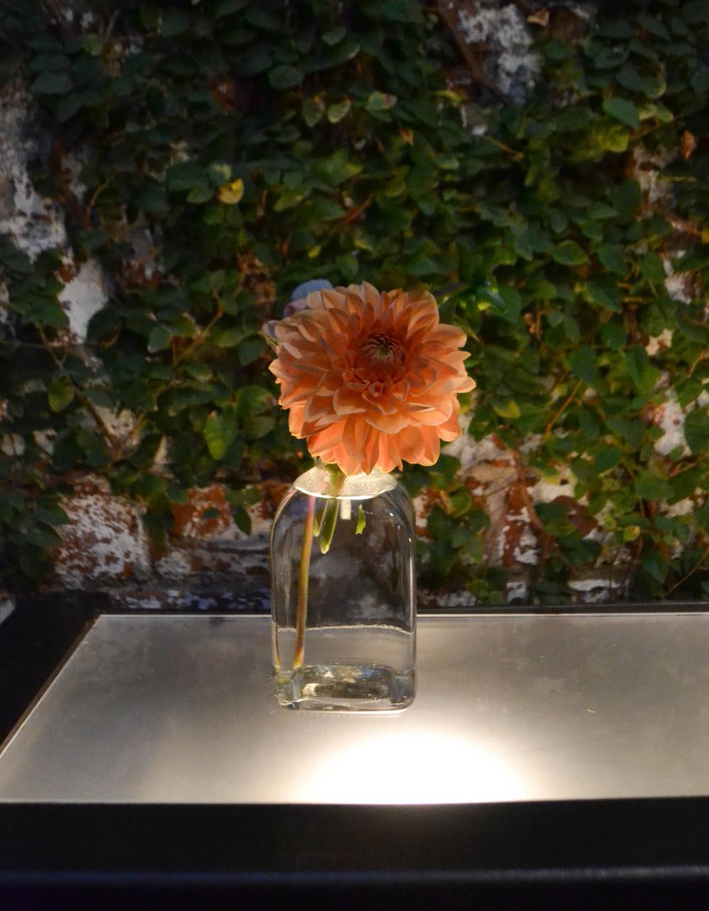 Foundry wedding, peach dahlia bud vase. Rosehip Social, Brooklyn NY