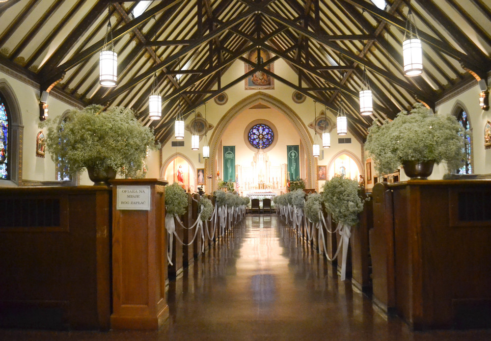 St. Cyril and Methodious Church, Greenpoint Church wedding. Baby's breath church decorations.