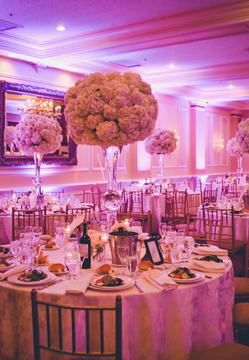 Extra large white hydrangea centerpieces in tall trumpet vases. Inn at New Hyde Park. Long Island. Rosehip Social, Brooklyn, NY.