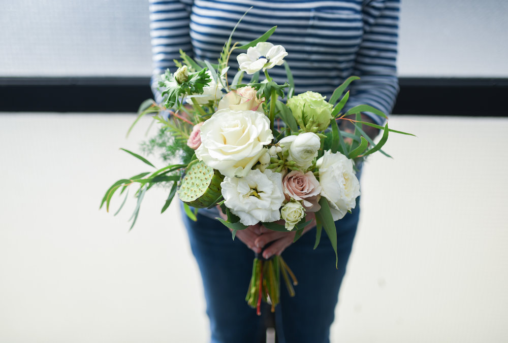 501 Union Wedding Bridal Bouquet. Filled with peonies, anemone, jasmine, roses, berries and seasonal accents.