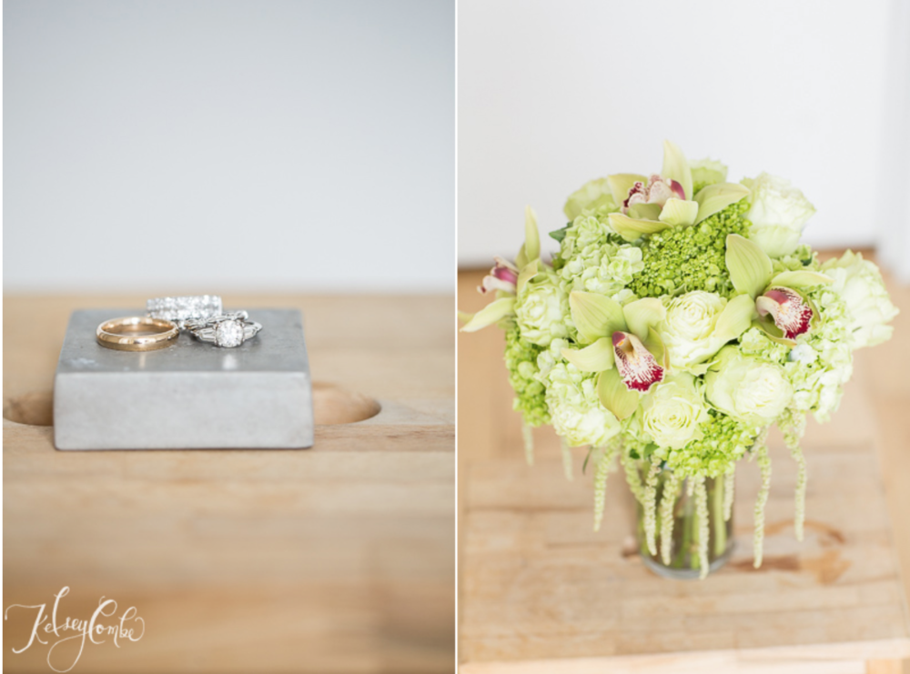 The wedding bands and bridal bouquet