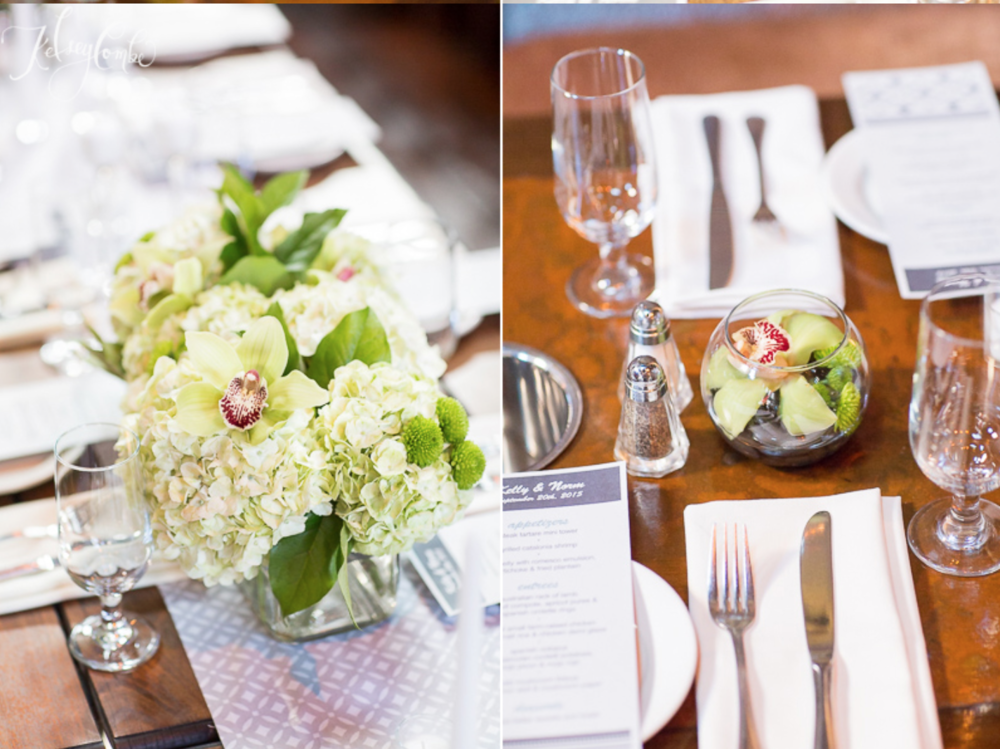 The modern centerpieces with hydrangeas, orchids, and mums