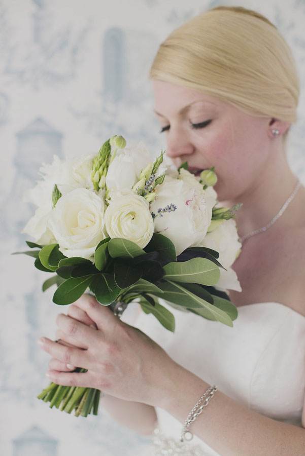 White and elegant with garden roses, peonies, ranunculus, star of bethlehem
