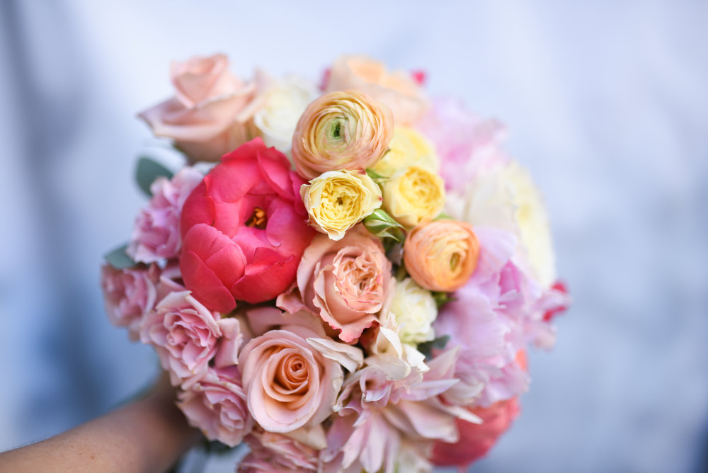 A fabulously colorful bridal bouquet for this October wedding in Brooklyn