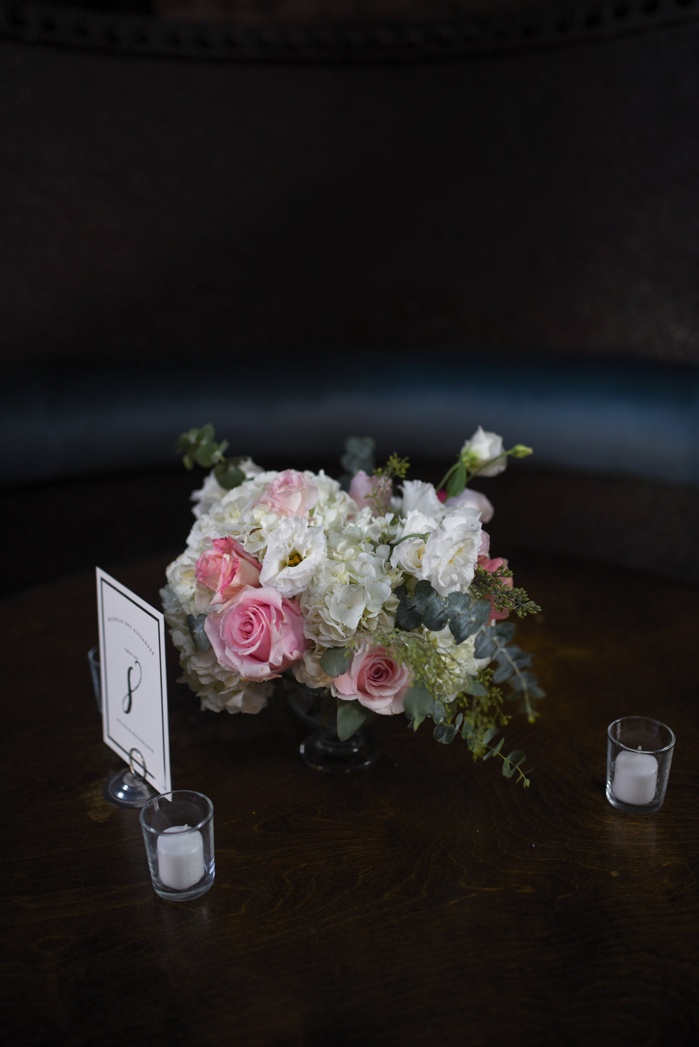 Pink and white chalice style centerpiece