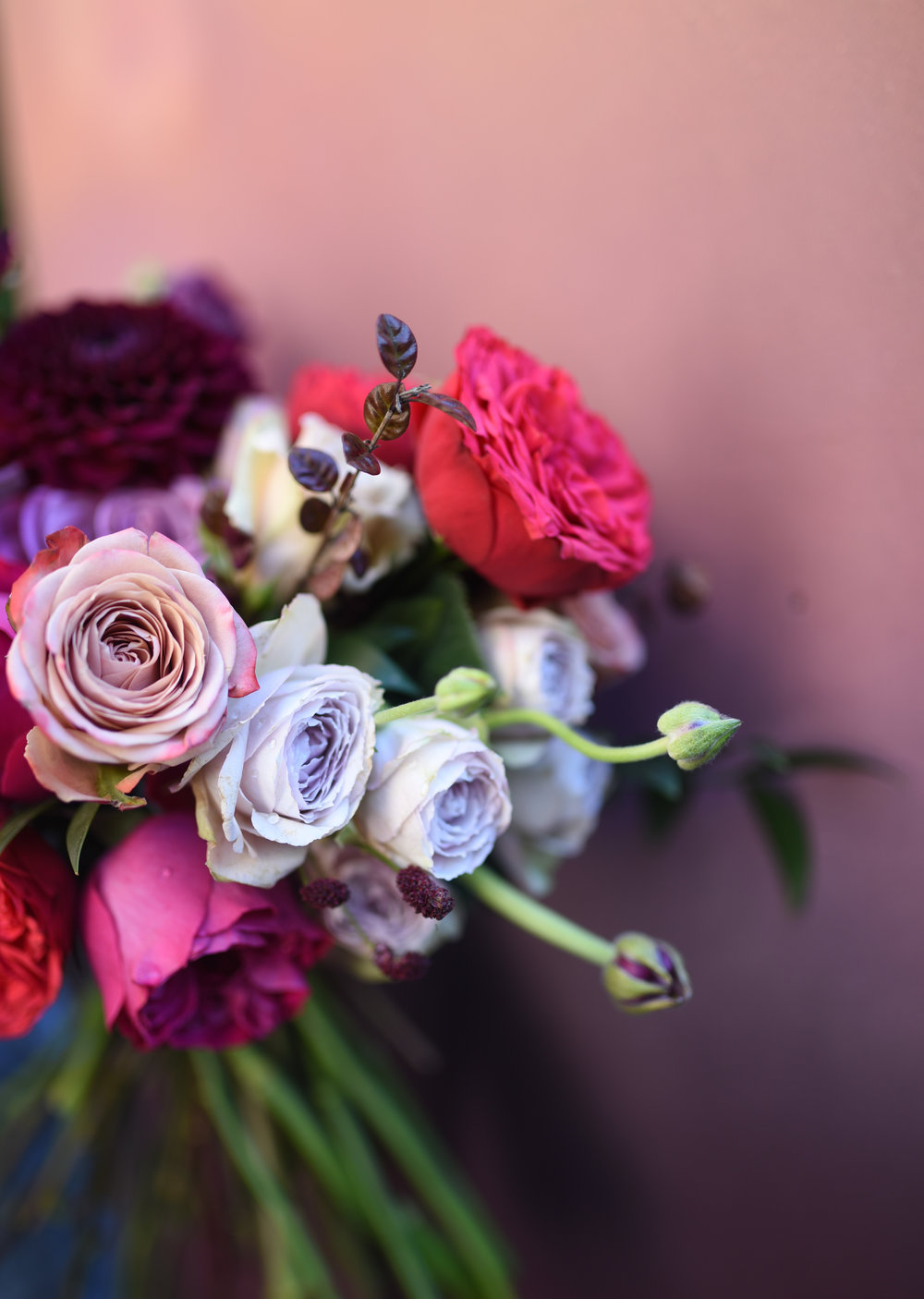 Jewel tones are just ovely in this bridal bouquet