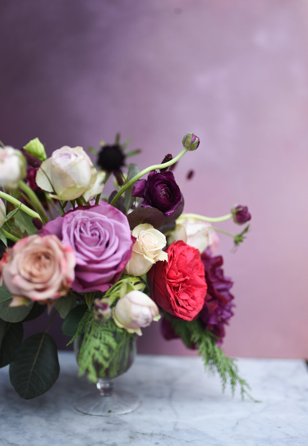 A lovely jewel toned centerpiece for this Brooklyn wedding reception at MyMoon