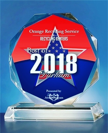 🥇 Thank you for everyone who made it possible this year!! Orange Recycling Service was chosen for the 2018 Best of Durham Awards in the category of Recycling Centers. The Best of Durham Award was created to acknowledge the best businesses in our community! #DurhamAwards #bestof2018 #workwithorange