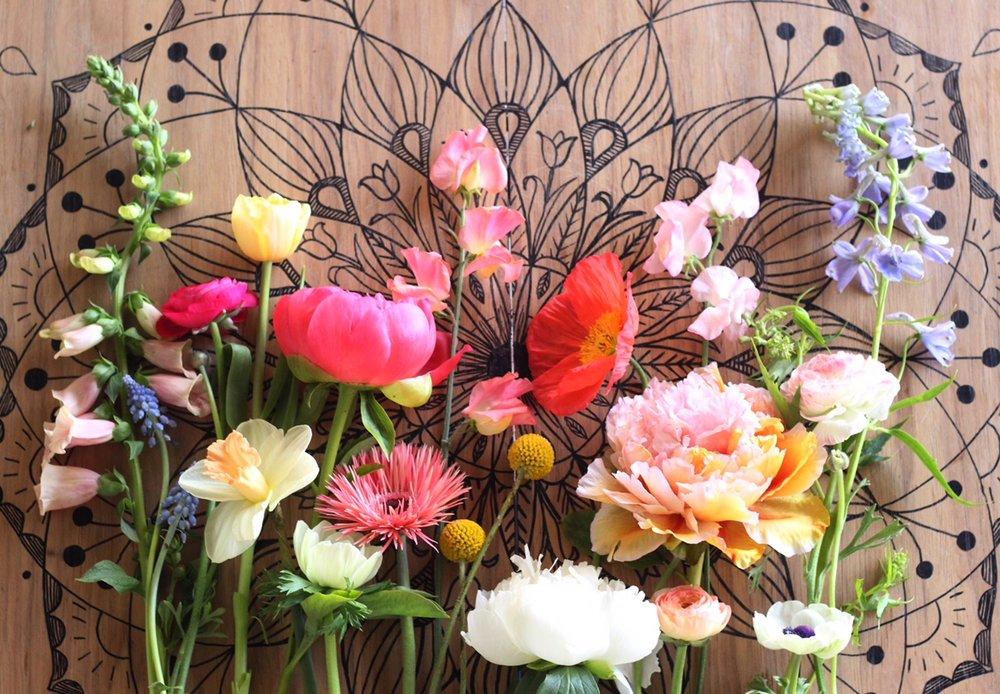 From left: foxglove, grape hyacinth, ranunculus, tulip, narcissus, peony, anemone, spider gerbera daisy, sweet pea, craspedia, poppy, tree peony, delphinium.