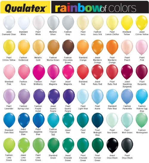 Color Chart Worlds Best Balloons