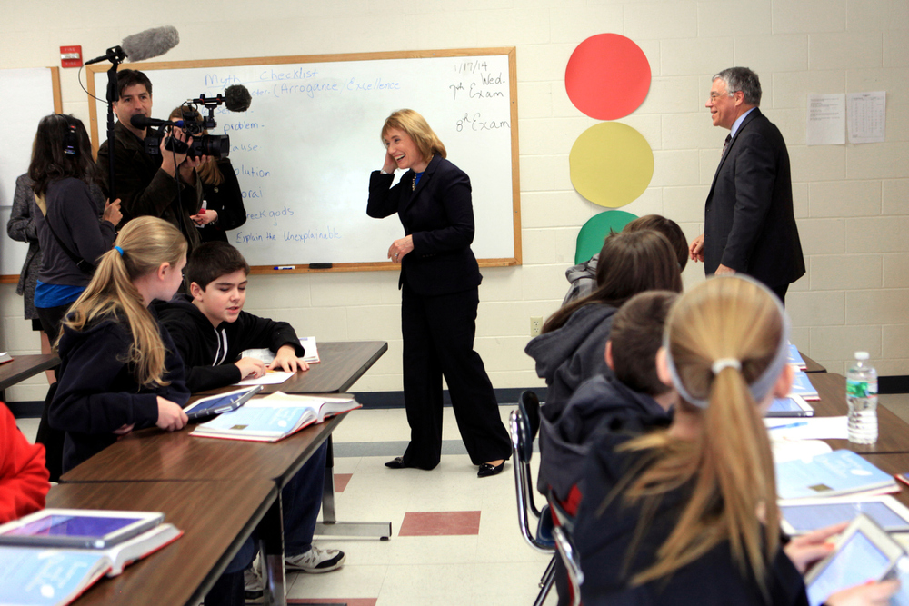 Gov. Hassan enjoys listening in on a seventh grade language arts class about Greek mythology at Pittsfield Middle/High School on Friday, January 17, 2014  Gov. Hassan visited the school to  see its improvements to a more student-centered learning environment after receiving a grant from the Nellie Mae Education Foundation.