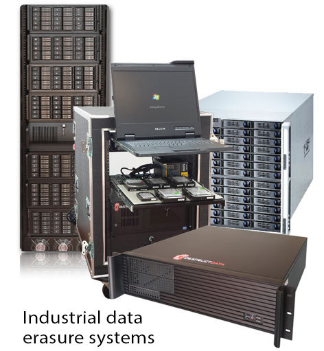 DestructData develops and builds the industry's widest range of industrial data erasure systems, including  processing facility erasure systems ,  on-site erasure services appliances  and  mobile platforms .