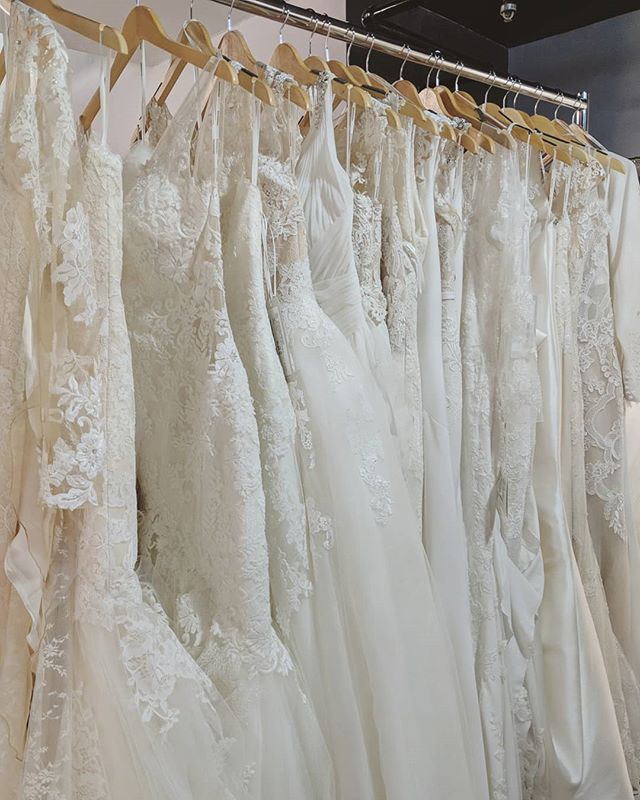 These beauties are the newest to hit the SALE rack! ✨ While we're sad to see them go, it's exciting to know some lucky brides will get their dream dress at an awesome discount! They're all first come first serve, so don't miss your chance to try them on! • • • #eleganzagallery #pronovias #whiteone #samplebridalgown #samplesale #bridal #weddingdresssamplesale #engaged #gettingmarried #heaskedisaidyes #elmhurstbridalshop #weddingdressshopping #bridetobe