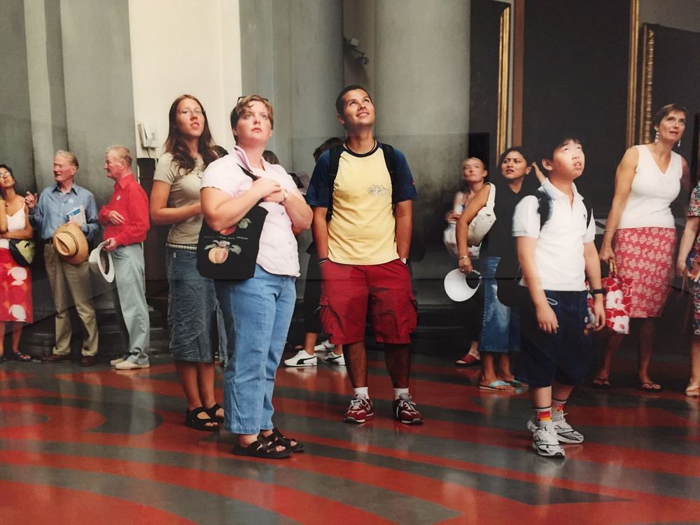 "[detail] ""Audience 4 (Galleria Dell'Accademia)"" by Thomas Struth // Struth set his camera up at the base of Michelangelo's David, and while there's definitely more to it from a critical perspective, the photo makes for a hilarious, relatable meta-experience, especially when bumping into it on the tail end of your visit when museum-brain has set in."