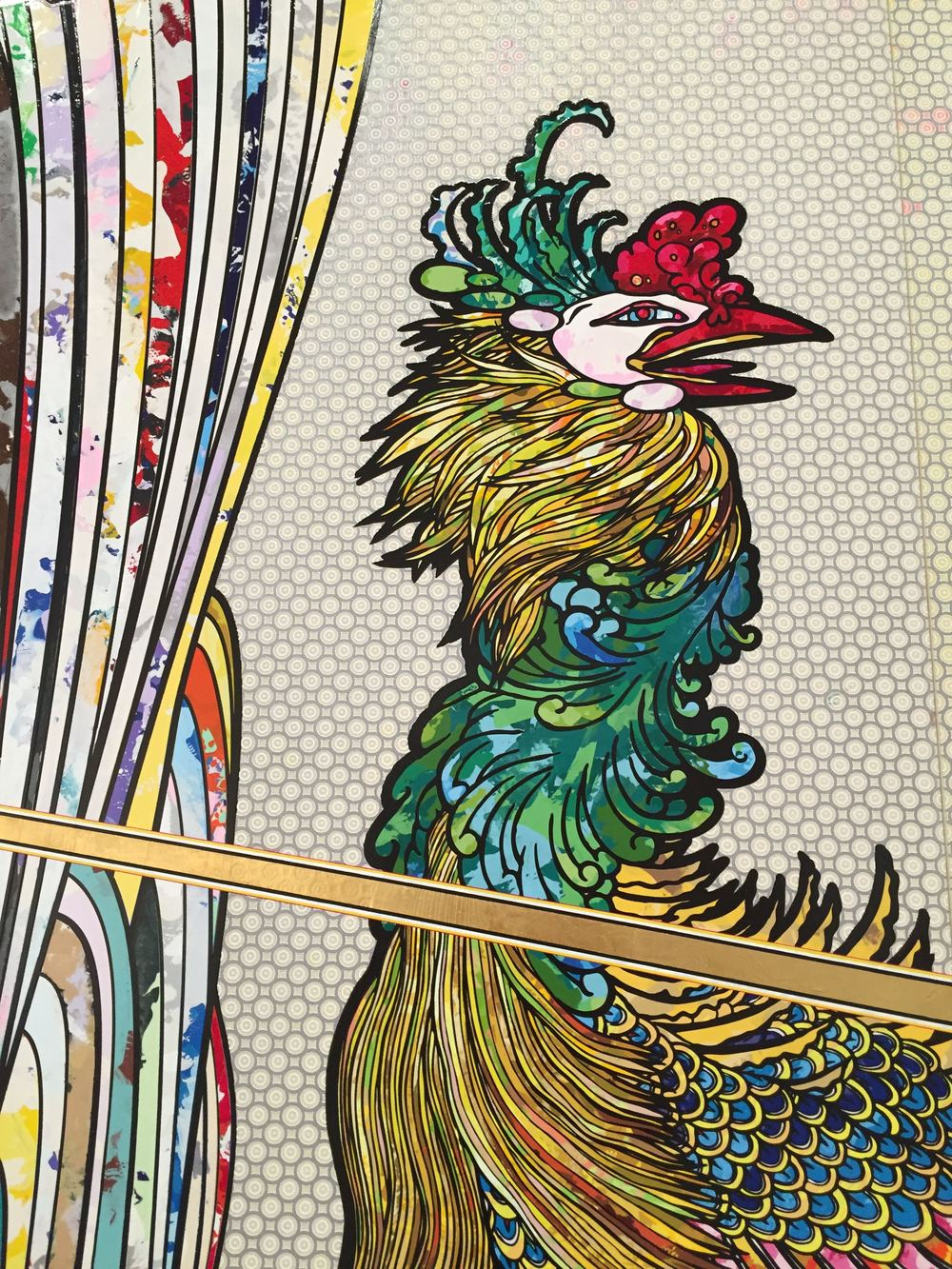 "[detail] ""In the Land of the Dead, Stepping on the Tail of a Rainbow,"" by Takashi Murakami. Oh, and this painting is 82 feet wide."