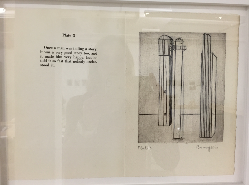 The education room featured a collection of paper ephemera from Louise Bourgeois' archive, including this wry plate from an (unpublished?) book.