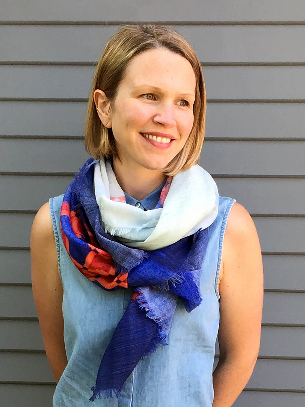 Cassandra wears the    Stormy Sea Scarf   .