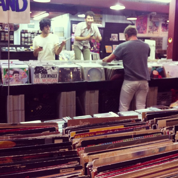 Took the  Allah-las  to  Used Kids Records  before last night's show with  Elephant Stone  and  The Black Angels  at the  Newport Music Hall .