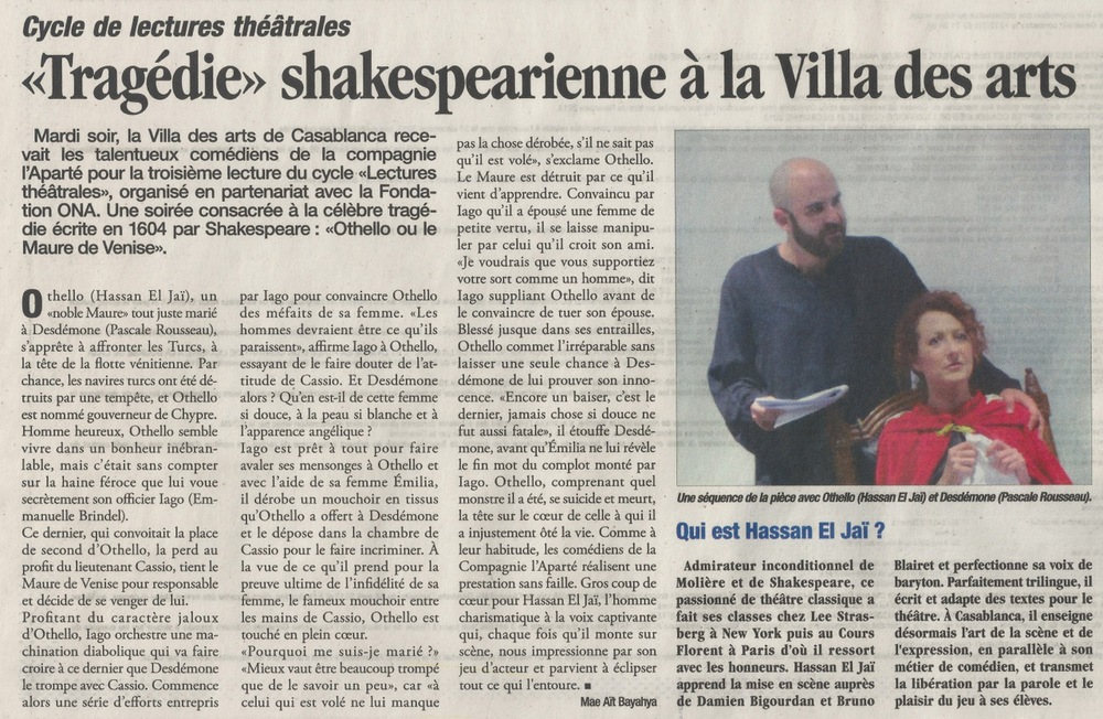 "Published in ""le Matin"" March 21, 2014"