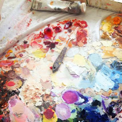 palette knife on full/dirty palette