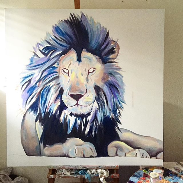 "First layer almost in🦁 ""48x48"" . . . . . #oilpaint #oilpainting #paint #art #artist #artwork #illustrate #illustration #sketch #graphic #canvas #lion #lionking #lionsmane #lionpainting #animal #animalart #wip #commission #kategordonart #fineart #create #color #artistsofinstagram #artgallery #draw #drawing #roar #painting #sandiegoart"