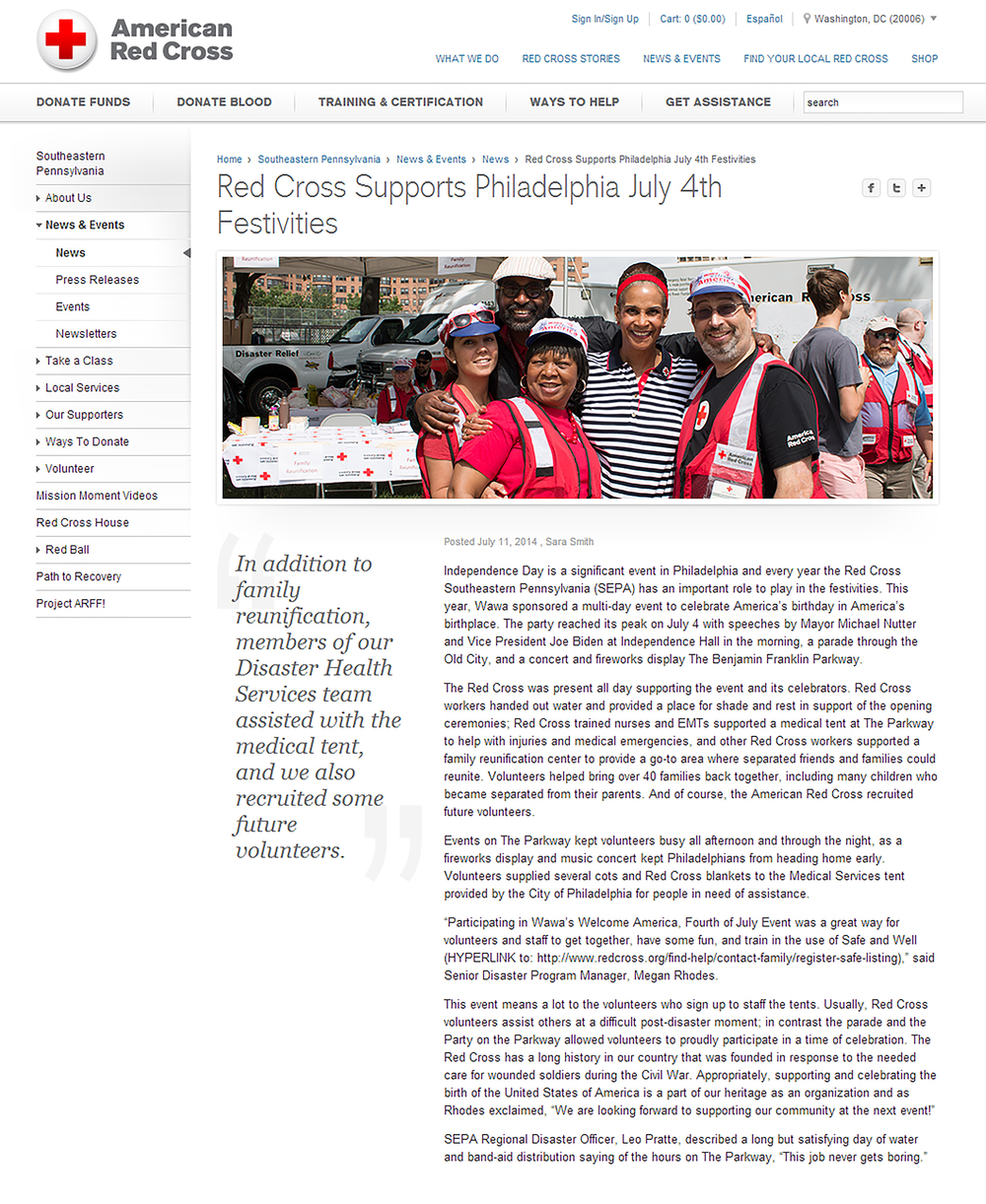 This article is dedicated to Red Cross's efforts and participation in 4th of July festivities in Philadelphia.