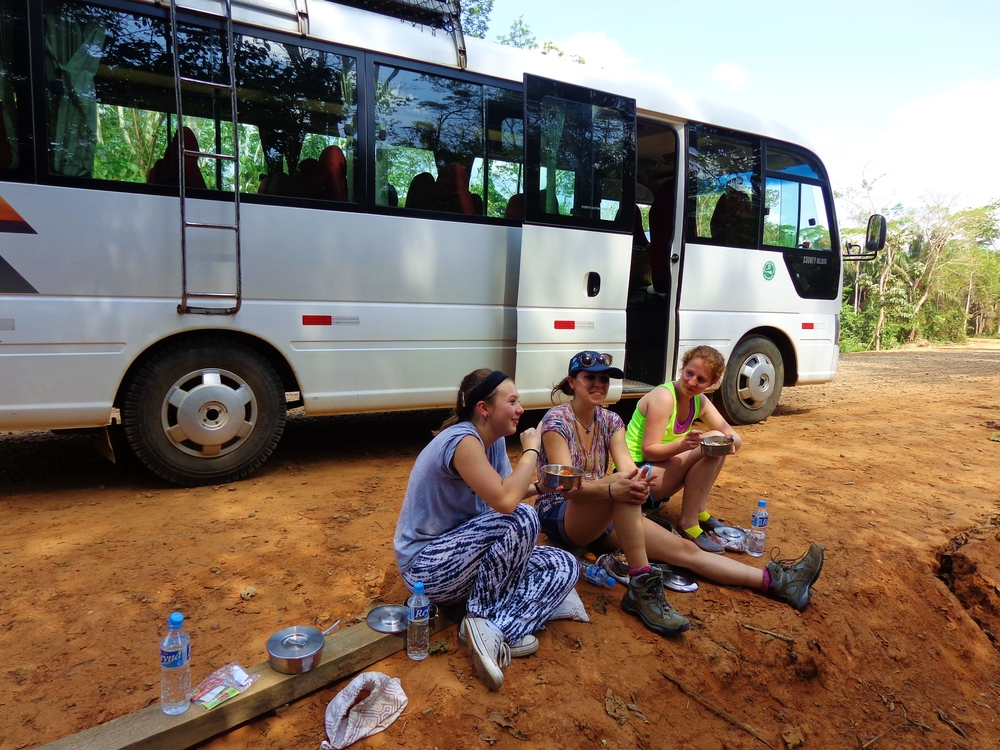Our bus broke down on the way into the jungle so we decided to eat lunch on the side of the road until help came.