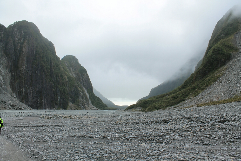 The huge valley the glacier made from its recession.