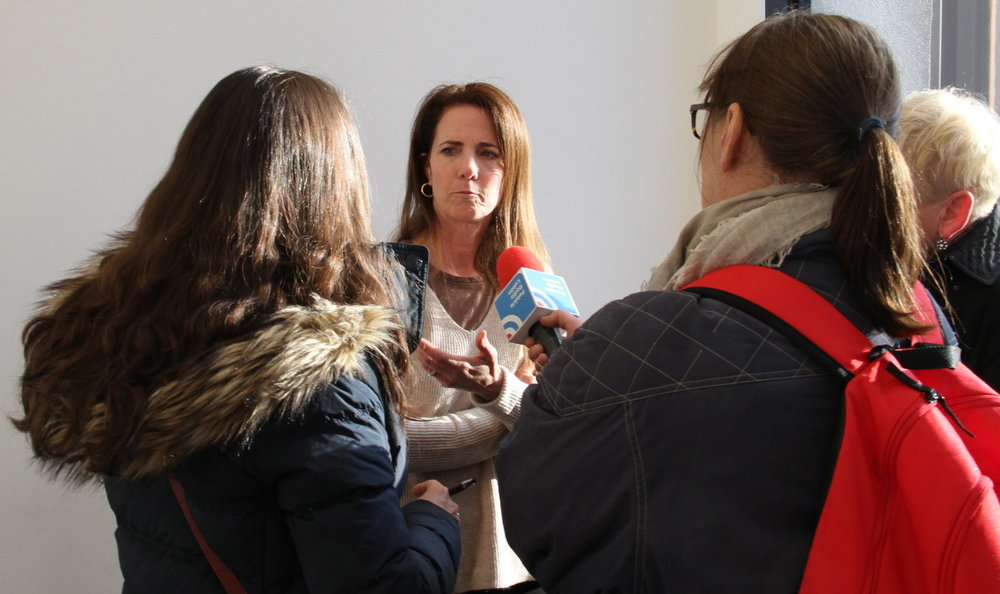 Director Stacey Fitzgerald being interviewed by Polish Radio.