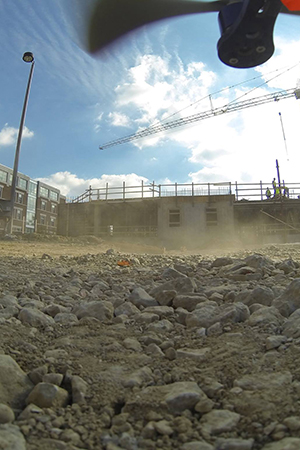 Monitoring a construction site with a quadcopter.