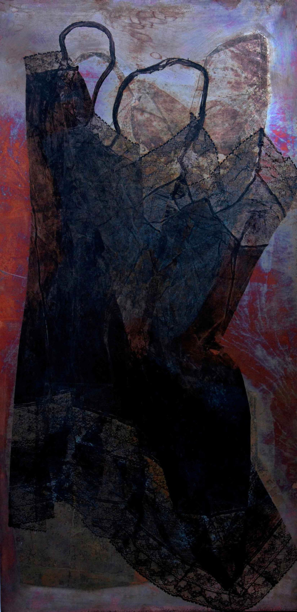"Sara Montani, ""Vestale"" - 2009, tecnica mista su rame 100x50-1"