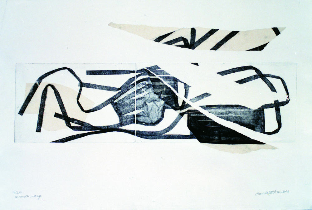 La maschera 2001. Incisione ad acquaforte su zinco e collage, 2001 cm. 72x45.jpeg