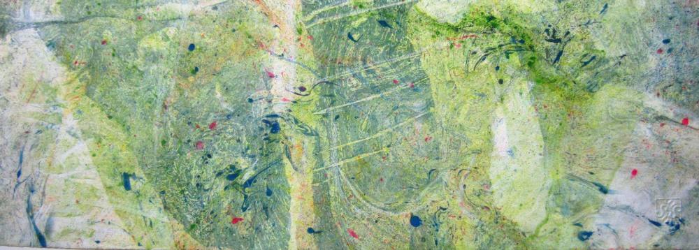 Il prato di Alce, olio su carta, cm.30x70