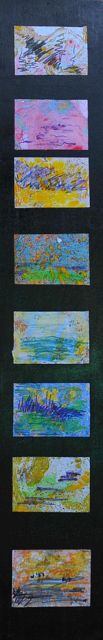 I colori ti salvano. 2001,. Tecnica: olio e pastello, cm. 120x20