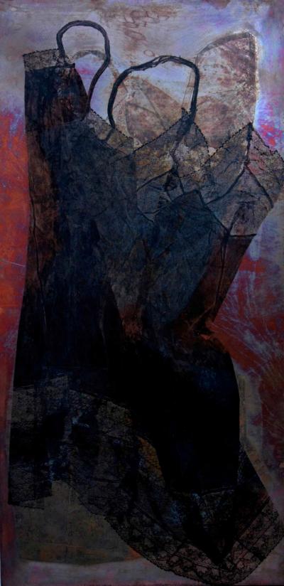 Vestale, tecnica mista su rame cm. 100x50, 2009