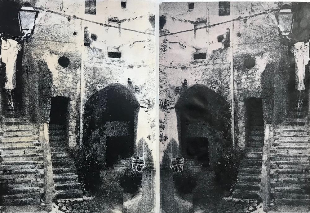 Lo specchio , 2019, gum print ritoccata, stampa e matrice, 30 x 40 cm