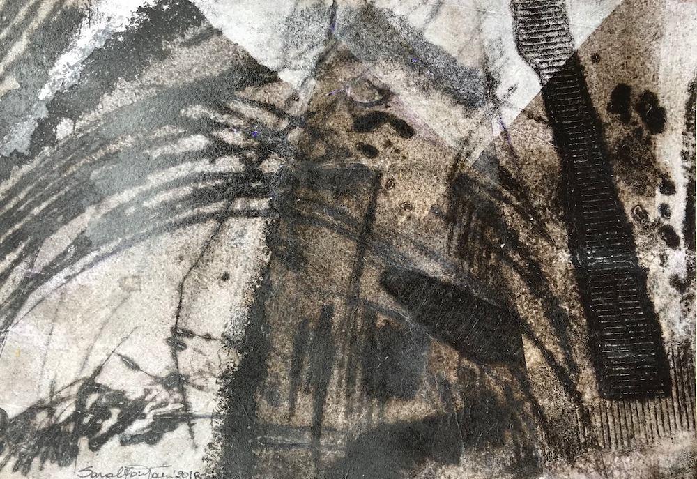Sospesa è la notte   2018, stampa calcografica su carta velina bianca, cm 20x30