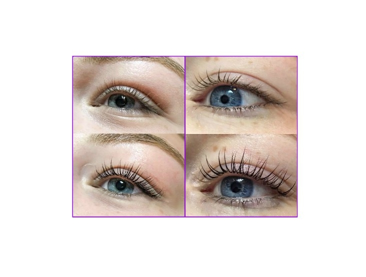 *Before and After pictures of two separate clients. Lash Lift (Lash Perm) and Lash Tinting*