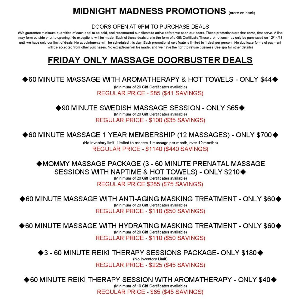 Spa Remedy Midnight Madness Sale Frankfort Illinois