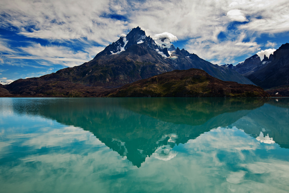 Mountain reflected on a lake in Patagonia. san diego commercial photography, san diego commercial photographer, southern California commercial photography, southern California commercial photographer