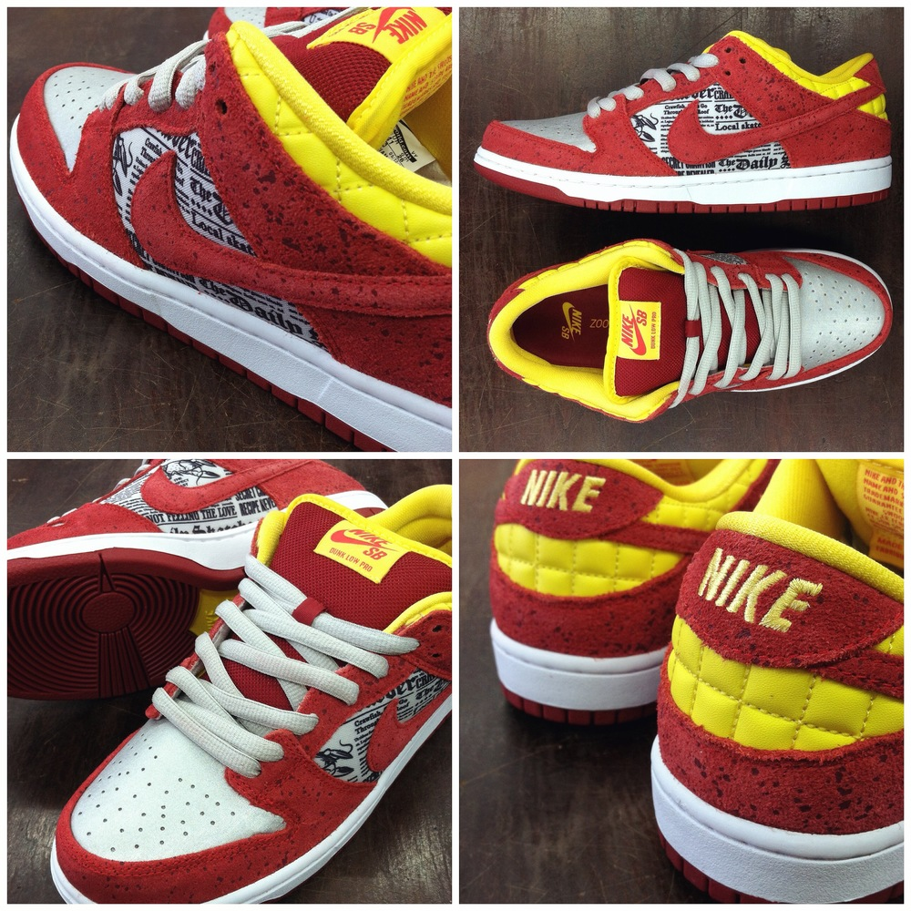"The Nike SB x Rukus skateshop ""crawfish"" Dunk Low collab is releasing this Saturday at our West Springfield location."