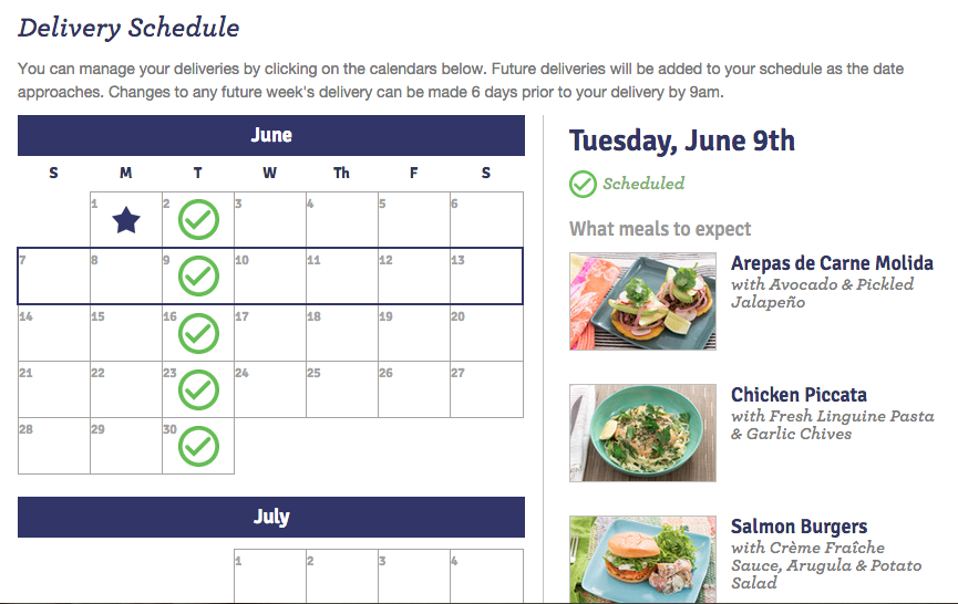 Blue Apron Meal Selection