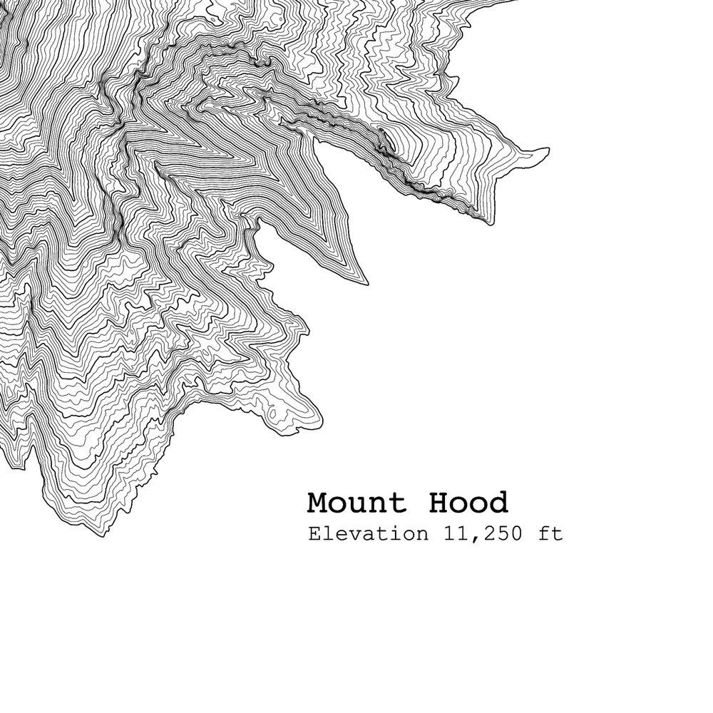 Mount Hood Oregon Topographic Map Art Print Tim April