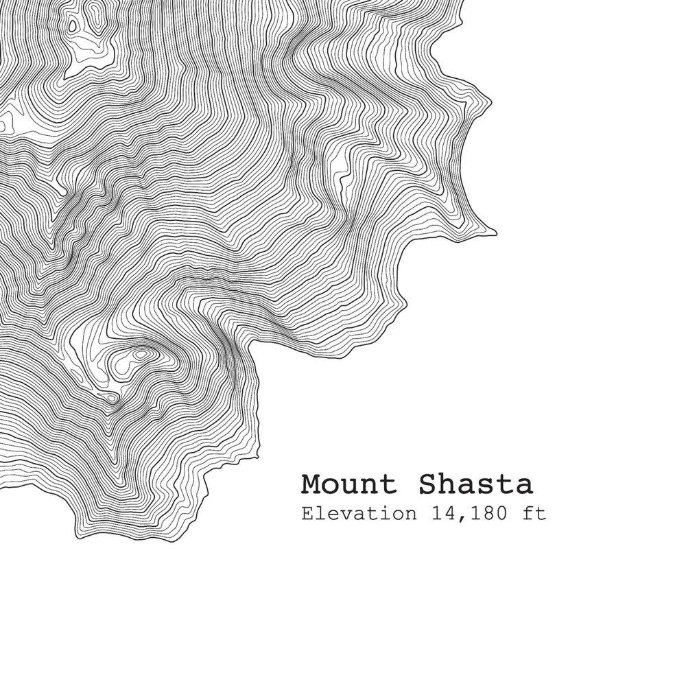 Mount Shasta California Topographic Map Art Print TIM APRIL