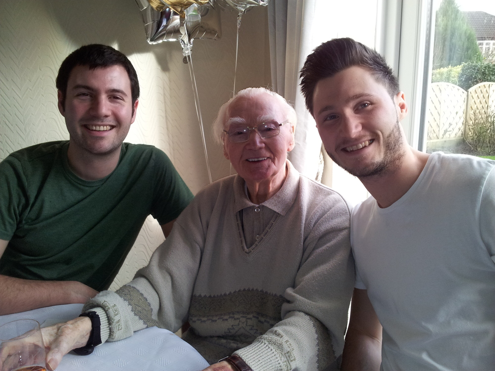 My Grandad with me and my brother on his 93rd Birthday